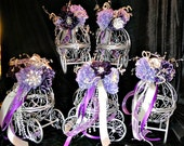 Fairy tale carriage centerpiece  in plum, lavender, silver Baby Shower Centerpiece  Card and wish holder , match brooch bouquets ,