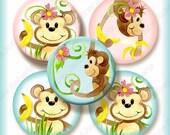 Monkey Baby Digital Collage Sheet 1 inch round circle AJR-341 designs monkeys jungle animals vines girl or boy bottle cap
