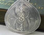 Leafy Teardrop Necklace - Antiqued Silver Leafy Textured Tin Teardrop Pendant Necklace Silver Chain