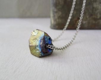 Rainbow Quartz Crystal Necklace - Natural Quartz Titanium Mystic Nugget Rock Necklace stone no.5