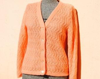 Vintage 1960's Peach Sorbet Cardigan