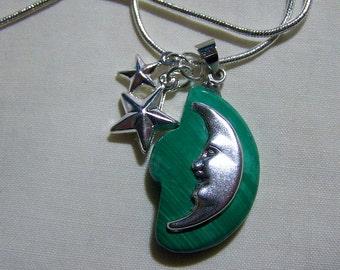 Malachite Silver Moon and Stars Celestial Pendant