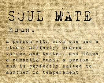 INSTANT DOWNLOAD - Soul Mate Dictionary Definition - Download and Print - Image Transfer - Digital Collage Sheet by Room29 - Sheet no. 1170