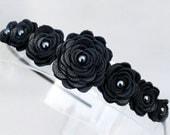 Black flower headband leather roses on black metal hairband, tiara, crown woodland wedding 3 year anniversary gift prom wearable art