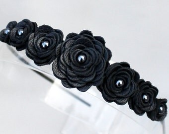 Black flower headband leather roses on black metal hairband, tiara, crown woodland wedding 3 year anniversary gift prom wearable art