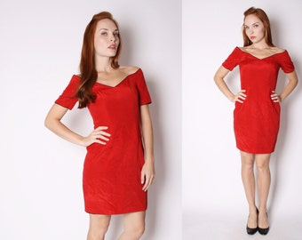 Red Party Dress - Body Con Dress - Short Red Dress - 2893
