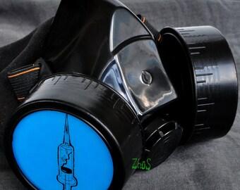 Cyber Mask Cyber Goth Respirator Black  Gas Mask biohazard SYRINGE Fetish squirt