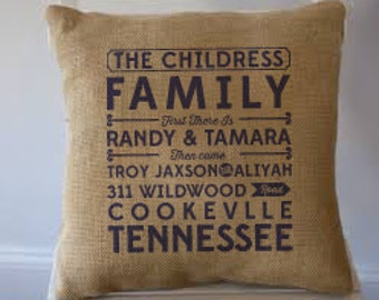 "Retro Family personalized Burlap Pillow 18""x18""  - GC"