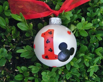 Mickey Mouse Personalized Ornament - Birthday Party Favor - Hand Painted Glass Ball Birthday Ornament, Disney Birthday, Mickey Mouse Nursery