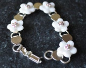 5 Petal Flower Bracelet with AB Swarovski Crystals by Kim Lugar