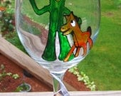 Gumby and Pokey Hand Painted Wine Glass