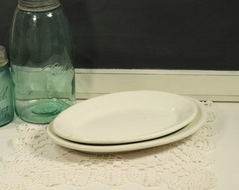 White Restaurant Platters Buffalo China Plate Illinois China Co Mid-Century Diner Platters