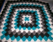Crocheted Baby  Blanket Teal White Black & Grey  Free Shipping