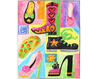 Wall Art For Girls, THE SHOE FITS, 11x14 canvas, Fashion Wall Art Decor For Girls Room