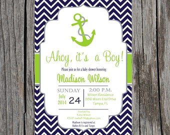 Printed Nautical baby shower Invitation,anchor baby shower invitation, Printed set of invitations, baby boy shower