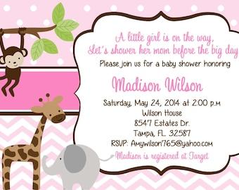 Jungle Baby Shower Invitation, jungle girl baby shower, baby girl, monkey, giraffe, elephant, DIY and printable