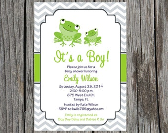 Frog Baby Shower Invitation, frogs baby boy shower, baby shower, DIY, digital, printable