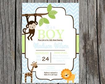 Printed Jungle Baby Shower Invitation, jungle baby shower, monkey, giraffe, lion, baby boy shower, boy