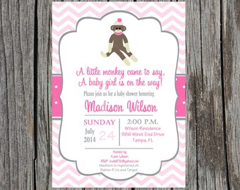 Printed sock monkey girl Baby Shower Invitation, monkey baby shower invitation, sock monkey baby girl shower