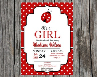 Ladybug Baby Shower Invitation, baby girl, ladybug baby shower invitation, baby girl shower, custom and printable