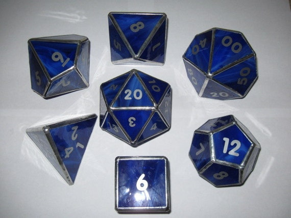 Dice set in stained glass