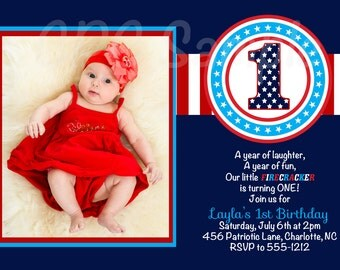 4th of July Birthday Party Invitation - Printable or Printed - 1st Birthday Invitations, Party Supplies, Birthday T-Shirt