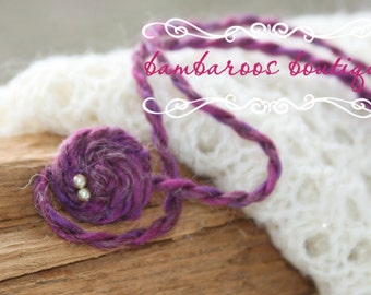 purple rosette headband, baby headband, Newborn photography props, petite headband, newborn headband, vintage headband, organic headband