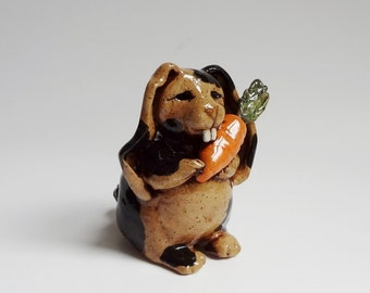 Folk Art Rabbit Sculpture - Spotted Rabbit with Carrot - Ugly Cute - Brown and Black - Pottery Rabbit - Rex rabbit - Easter Gift - Funny