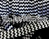Black Silver Foil Chevron 5/8 FOE 5 yards- Fold Over Elastic- Hair Tie and Headband Elastic