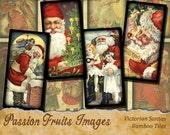 Victorian Santa Bamboo Tile Digital Collage Sheet-- Instant Download