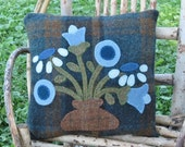 Primitive Blue Flower Wool Pillow Folk Art Pillow