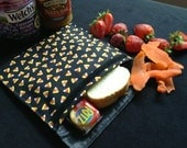 Large Reusable Washable Sandwich and Snack Bag, Fold Over Style, Velcro Close