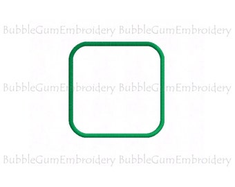 Rounded Corner Square Applique Embroidery Design Instant Download