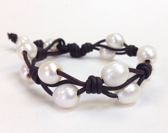 Natural Leather and Pearl Jewelry - Hand made in USA (ViLaiWan 1)