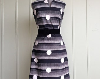Vintage 1960's Mod Black and White Polka Dot and Striped Dress Large
