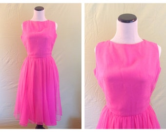 "Vintage 1950's Bright Pink Chiffon Swing Party Dress ""Johnnye Jr."" Size Small S"