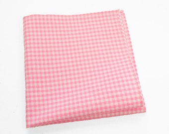 Gingham Cotton Pocket Square or Handkerchief in peony pink and white