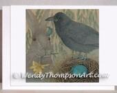 Raven art blank note cards - Four Seasons - Spring Raven, Celtic Eostre hare, daffodil jonquil, moon locket, corvid nest eggs