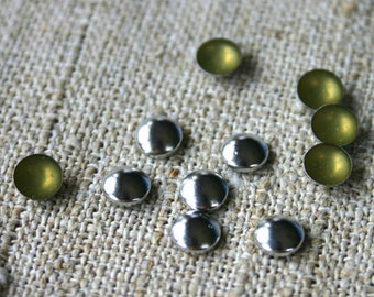 100pcs Flat Back Silver Finished Brass Hot-Fix Rhinestud 5mm Domed Round
