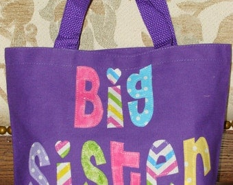 """Personalized Big Sister Tote (8.5"""" x 11"""" x 3"""") baby shower gift"""