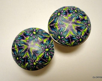 8  Polymer Clay Cabinet Knobs Pulls    32 Available    Kaleidoscope Navy  Purple and Green