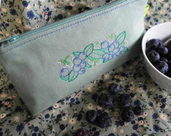 Blueberry embroidered cosmetic makeup toiletries storage bag sage green fruit berries