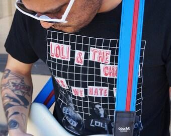 Sky Blue and Red Racing Stripe Guitar Strap, Vegan, Made in California