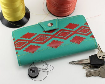 Turquoise Navajo Style Womens Wallet -Red Native American Print, Zipper Pouch and Checkbook Slot