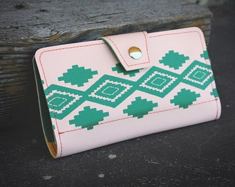 Southwestern Salmon Womens Wallet, Native American Turquoise Print, Clutch