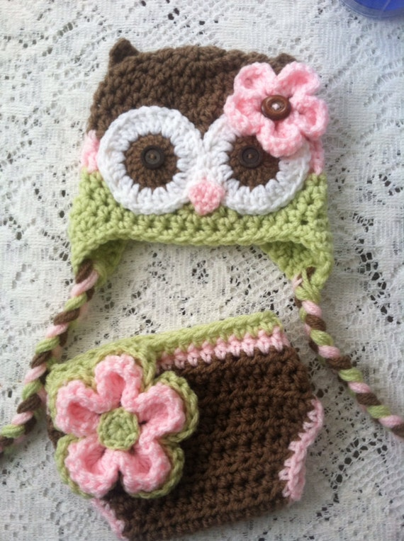 Free Crochet Owl Hat And Diaper Cover Pattern : Items similar to Brown pink and celery green owl hat and ...