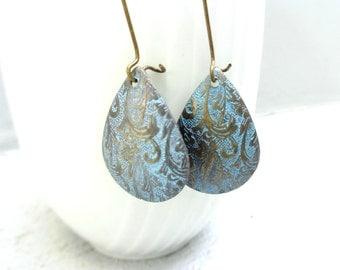 Turquoise drop earrings, brass drop earrings, dangle earrings
