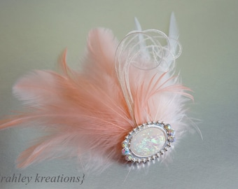 Peach Coral Ivory Feather Fascinator Headpiece Hair Clip CORALINE Pearl Opal Iridescent Sparkling Embellishment Bride Bridesmaid Prom SALE