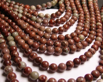 Flower Jasper - 8mm round beads -1 full strand -chohua jasper -  50 beads - NRG177