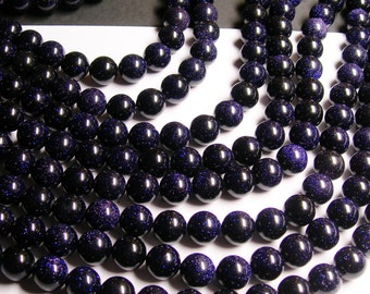 Blue Goldstone - 12mm round - full strand - A quality - 33 beads - RFG1157